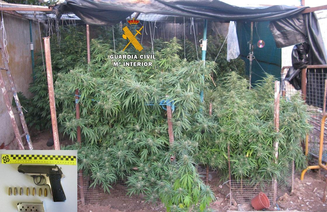La droga y el arma intervenidos por la Guardia Civil.