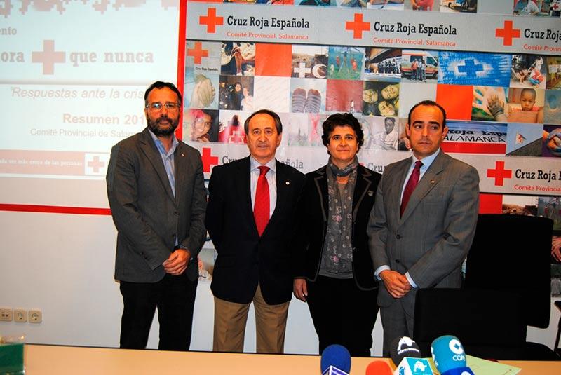 Javier Vicente, Jesús Juanes, Elena Borrego y Carlos Santos en la rueda de prensa en la sede de Cruz Roja.