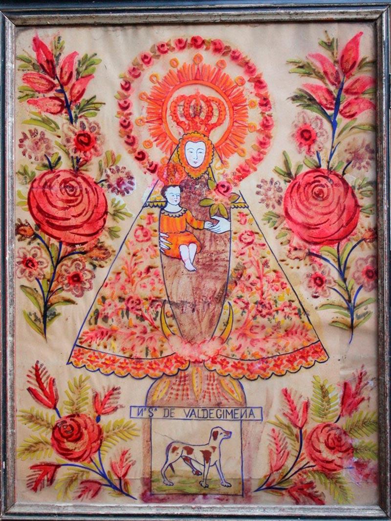 Cristal pintado con la Virgen de Valdejimena.