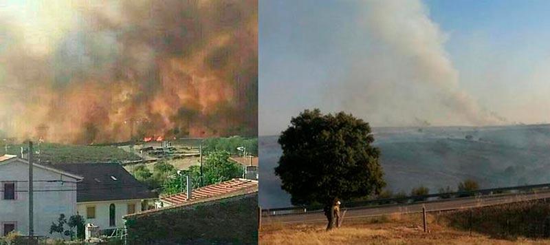 Varias imágenes donde se ve como el fuego ha estado muy cerca de