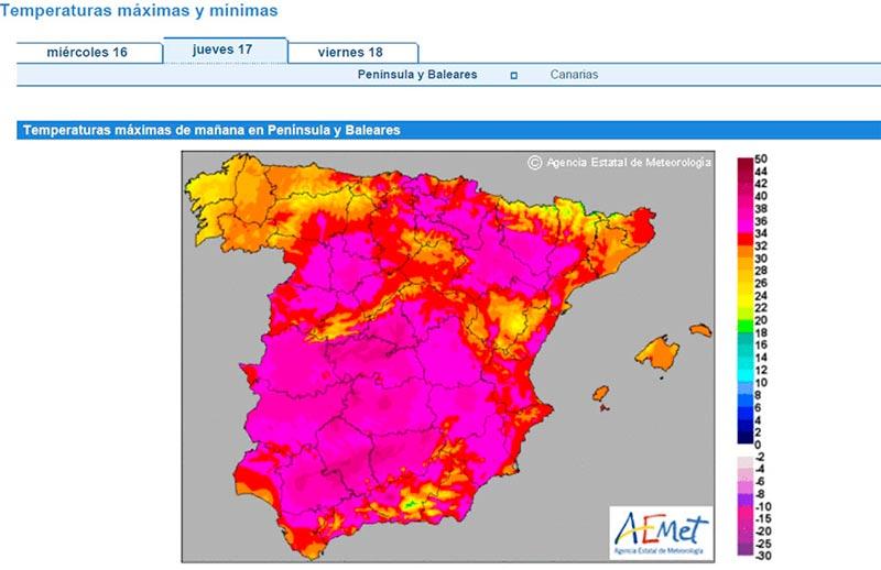 Mapa de temperaturas previstas para este jueves.
