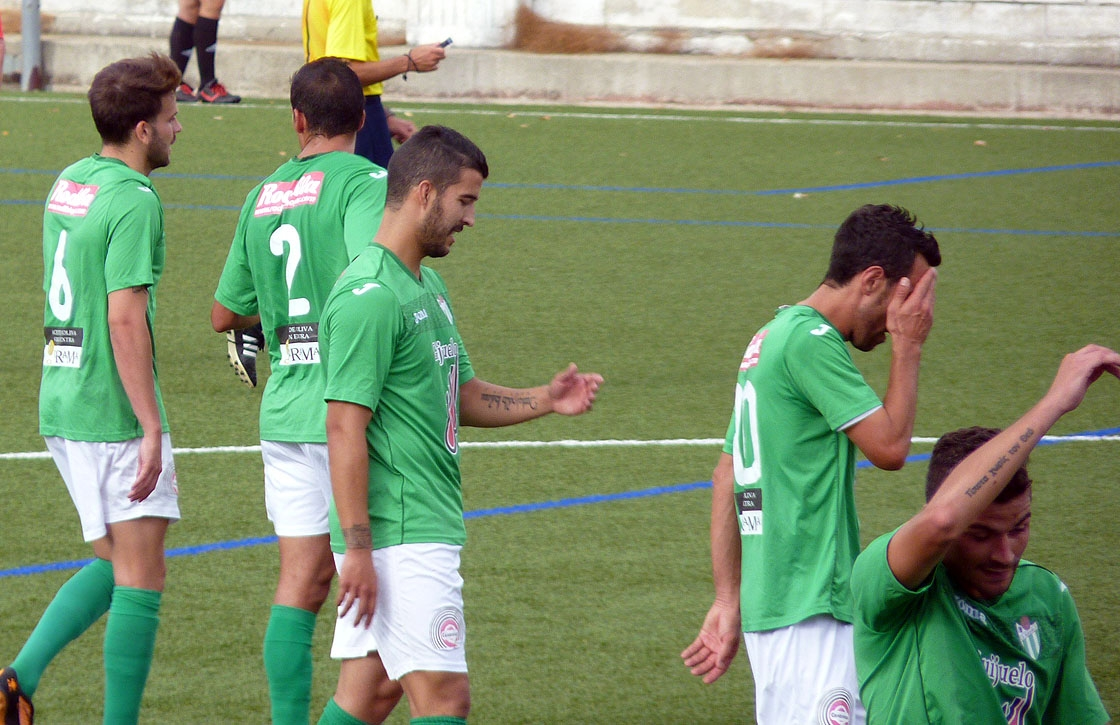 Varios jugadores del Guijuelo, en un partido de esta temporada.