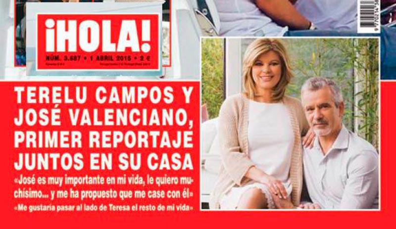 Terelu Campos y su novio José Valenciano ocupan la ventana inferior de la revista Hola de esta semana.