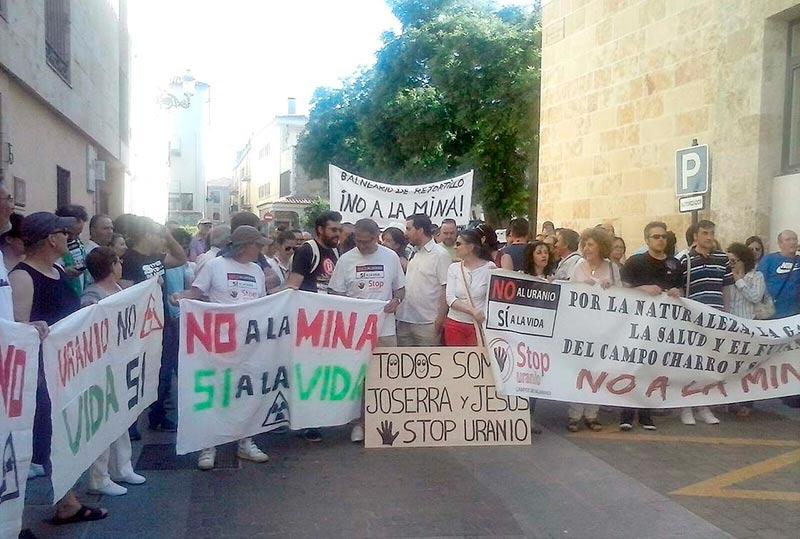 La concentración de este miércoles en Ciudad Rodrigo.