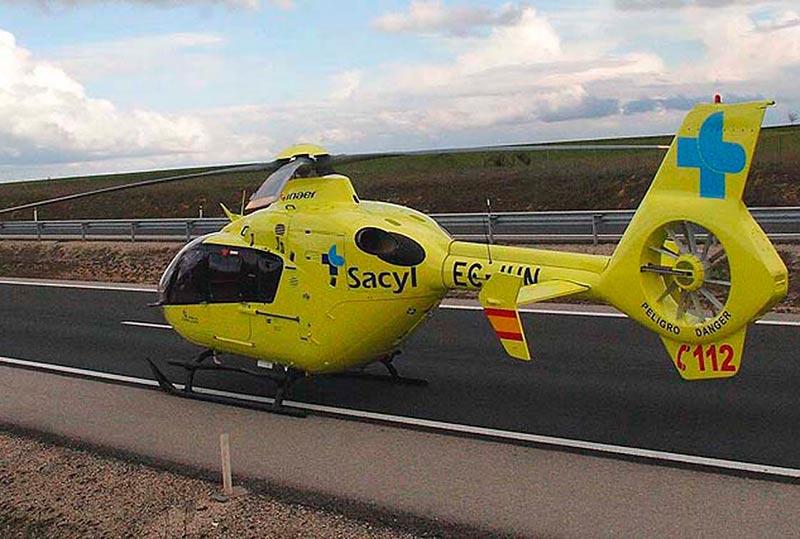 El helicóptero medicalizado de Sacyl.