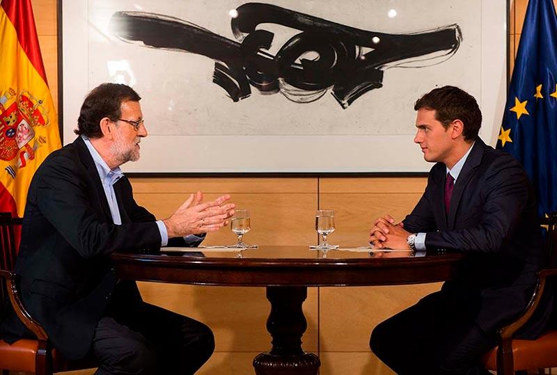 Mariano Rajoy y Albert Rivera se reunieron este jueves en el Congreso. (Foto: PP)