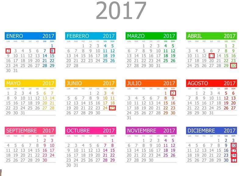 El calendario de los días festivos que abrirán los comercios en 2017.