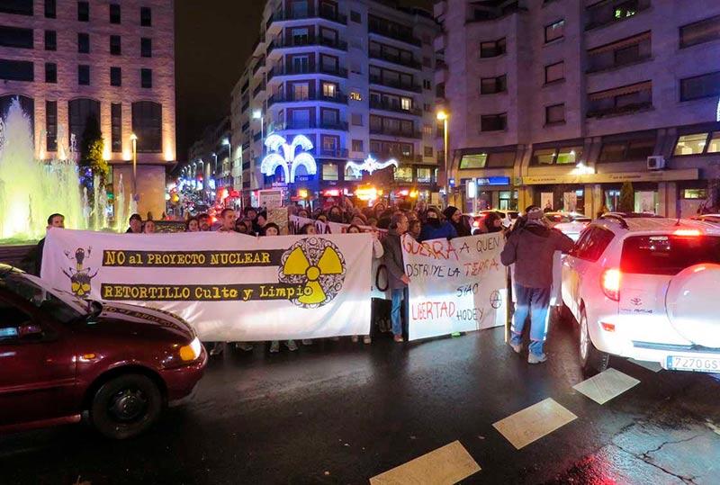 Los manifestantes, en la Puerta de Zamora.