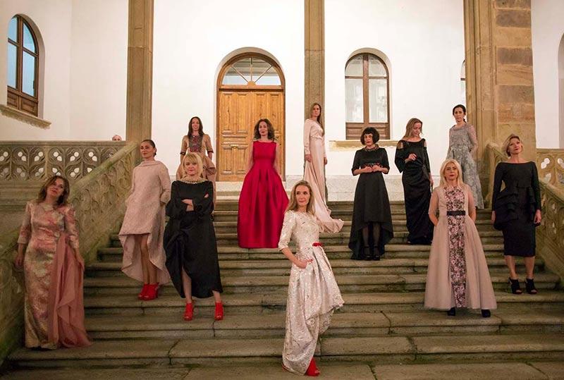 Las modelos, en el palacio de La Salina.