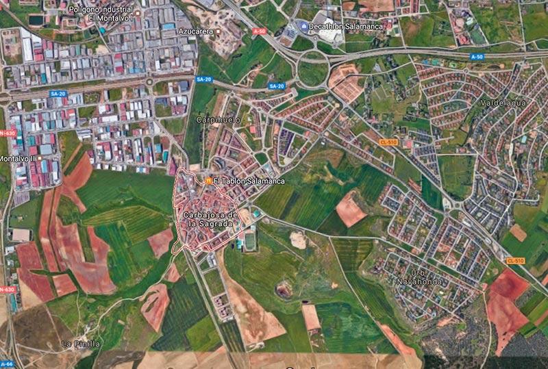 Vista aérea del término de Carbajosa. (Google maps)
