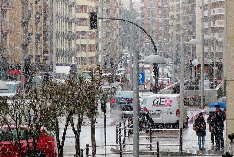 La nevada en la Avenida de Portugal.