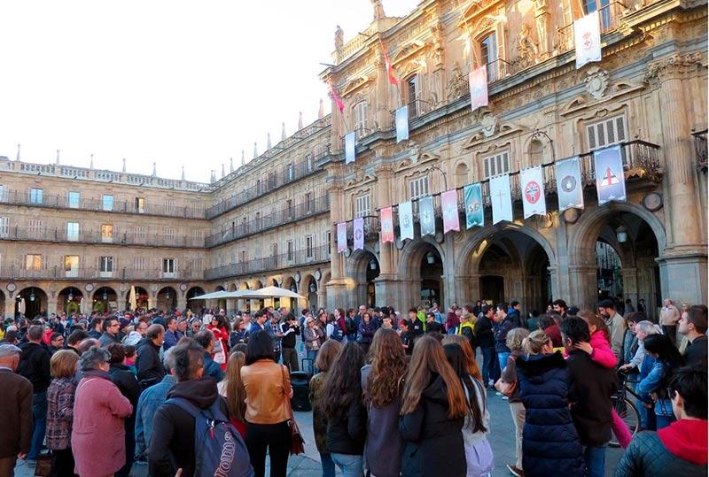 La concentración en la Plaza Mayor.