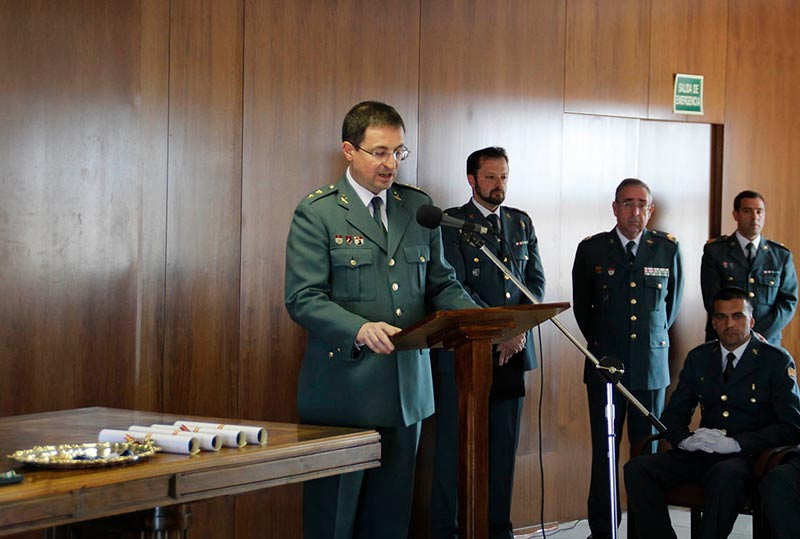 El teniente coronel, Jorge Montero Llácer, se dirige a los asistentes.
