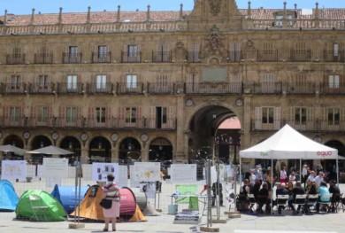 campamento plaza mayor refugiados