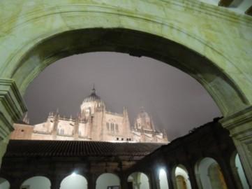 Catedral Nueva bajo la niebla desde el claustro de la Hospedería de Anaya.