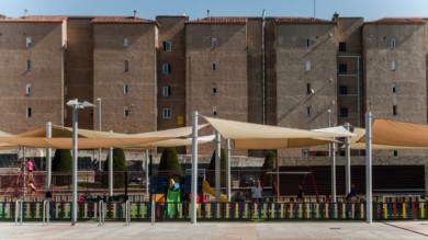 Sombra en el parque infatil de la plaza de la Concordia., Salamanca
