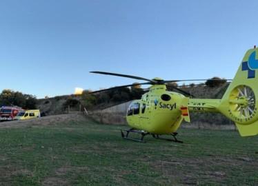 Uno de los heridos del accidente de Mozárbez tuvo que ser trasladado en helicóptero.