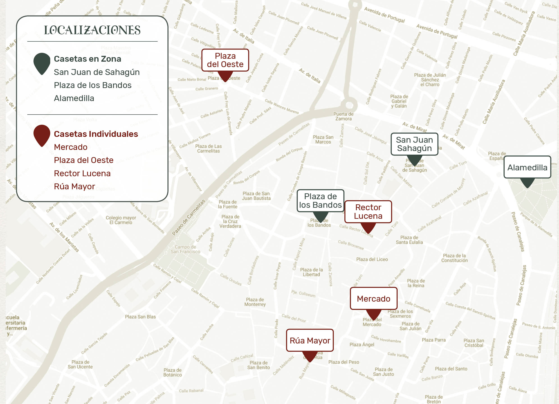 Zonas donde se ubicarán las casetas, en Salamanca.
