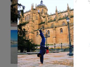 El reto viral #handstanderstoroughtheworld de hacer el pino en lugares con historia llega a Salamanca.