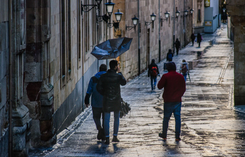 lluvia, paraguas, frío, viento