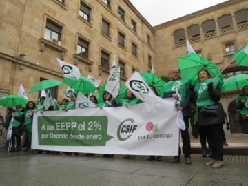 CSIF se manifiesta por la subida del 2% a los empleados públicos.