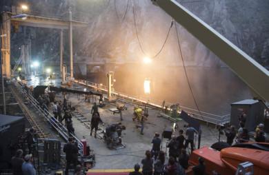 Despliegue técnico durante el día de grabación en la presa Aldeadávila de Iberdrola