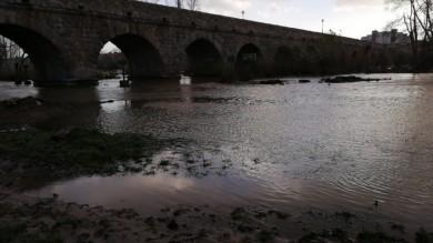 El Tormes baja crecido a su paso por Salamanca dejando las orillas bien colmadas de agua.