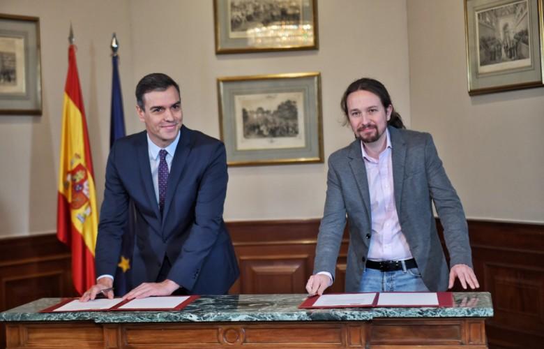 Pedro Sánchez, líder del PSOE, y Pablo Iglesias, líder de Unidas Podemos.