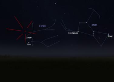 Las gemínidas parecen venir de la constelación de Géminis, aunque realmente pueden ser vistas en cualquier punto del cielo. Foto IGN.