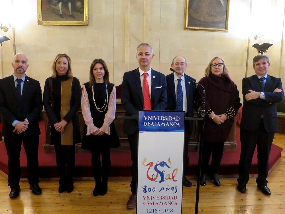 Ricardo Rivero y su equipo de Gobierno de la Universidad de Salamanca