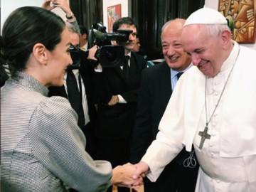 Tamara Falcó y el Papa Francisco. Foto. Intagram.