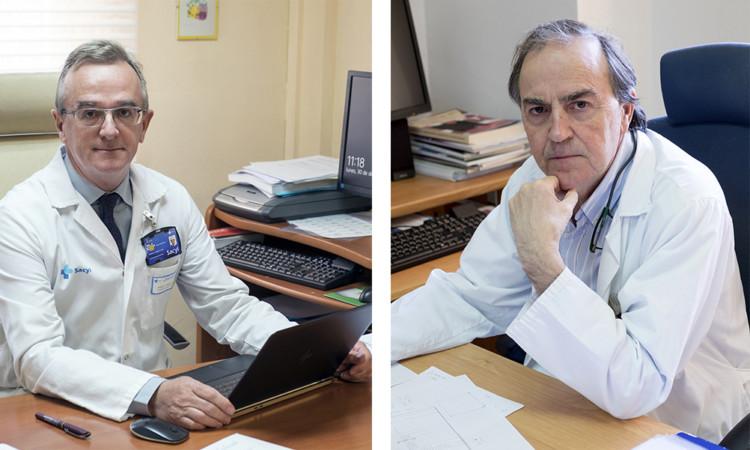 Jesús Formigo. ICAL. Marcelo F. Jiménez López, jefe de servicio de cirugía torácica y Marcos González, jefe de servicio de Hematología del Complejo Asistencial de Salamanca
