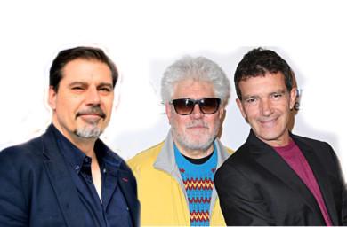 Los tres españoles nominados a los Oscar, Sergio Pablos, Pedro Almodóvar y Antonio Banderas.
