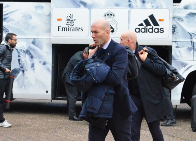 Zidane, entrenador del Real Madrid a su llegada a Salamanca.
