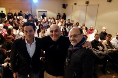 David Arranz / ICAL . El director Eduardo Margareto; el guionista Jorge Moreta y el productor Rafael Monje en el pase del documental 'Cuba crea' en centro de arte contemporáneo de Salamanca Da2