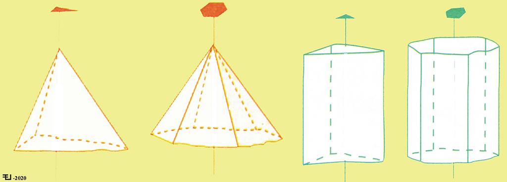 Pirámides y prismas trigonales y hexagonales.