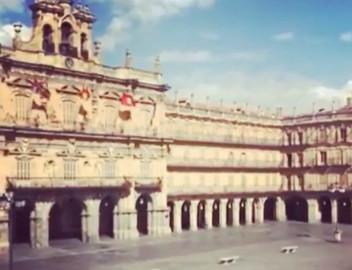Imagen de una Plaza Mayor vacía. Foto. Salamanca Sibarita Instagram.