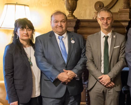 María José Sánchez Ledesma, Carlos Hernando y Ricardo Rivero. Foto. Usal.