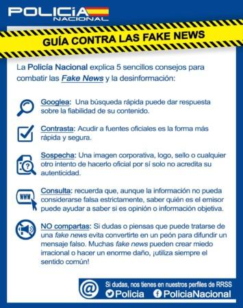 Cinco consejos de la Policía Nacional para detectar las falsas noticias, fake news.