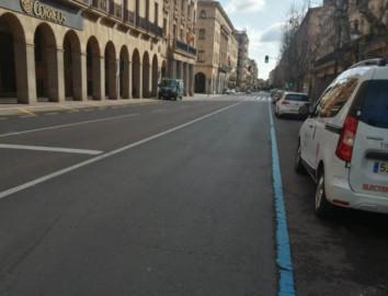Zona azul en la Gran Vía de Salamanca.