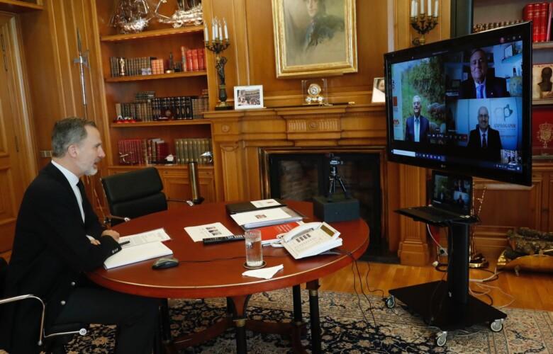 Felipe VI, en videoconferencia con los ganaderos de porcino. Foto. Casa Real
