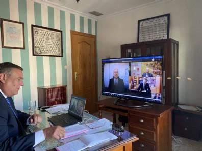 Felipe VI, en videoconferencia con los ganaderos de porcino.