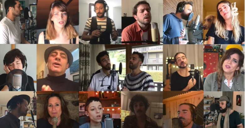 Los artistas que participan en el vídeo solidario.