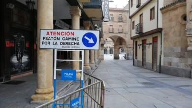 Una de las señales colocadas en la plaza del Corrillo de Salamanca.