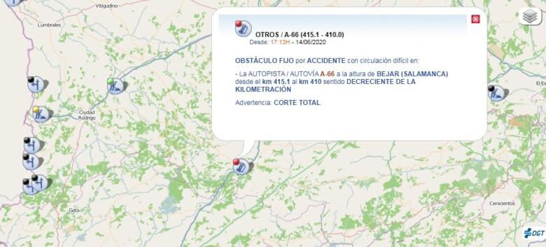 El accidente donde volcó un camión ocurrió en la A-66 a la altura de Béjar.