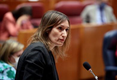 Rubén Cacho / ICAL. La consejera de Educación, Rocío Lucas, durante el Pleno en las Cortes de Castilla y León