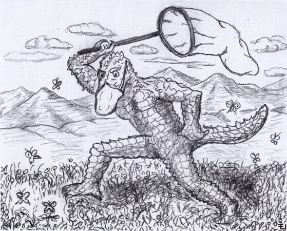 """""""Cazador de mariposas"""" (Dibujo de E. Jiménez)"""