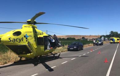 El accidente ocurrió en el término municipal de Garcihernández. Foto. Helicóptero de Sacyl.