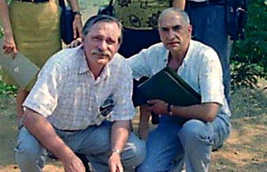 Con Santiago Jiménez, en Mazaterón (1990)