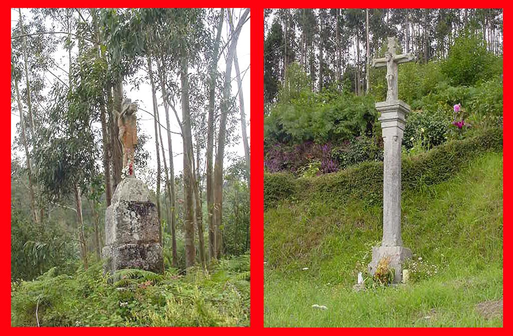 Cruceiros de fallecidos en bosque: Cuadramón y Frexulfe (Lugo)
